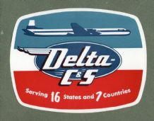 Collctable Vintage Airline luggage label  Delta  Airways *** #555